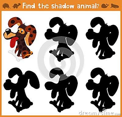 教育的动画片例证将发现适当的阴影剪影动物狗 prescho的孩子的相配的