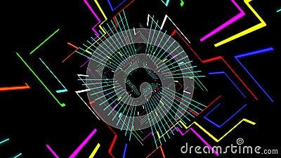 数字式未来派隧道道路的无缝的3d动画有五颜六色的几何电线和块栅格的 皇族释放例证