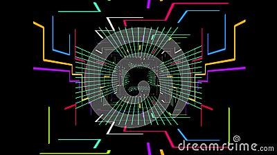 数字式未来派隧道道路的无缝的3d动画有改变与迅速移动的颜色的几何电线和块栅格 皇族释放例证