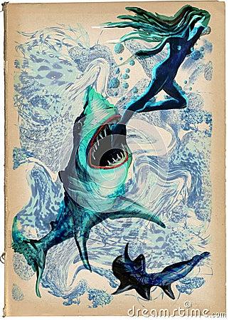 数字式绘画:鲨鱼攻击 免版税库存照片图片
