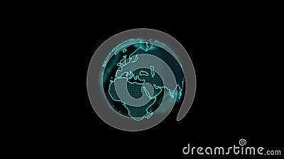 数字蓝星地球动画旋转黑色背景 股票视频