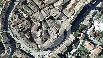斯塔福洛-马尔什,意大利的空中录影-古老小山镇 影视素材