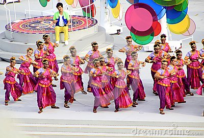 新加坡国庆节游行的预览 编辑类库存照片