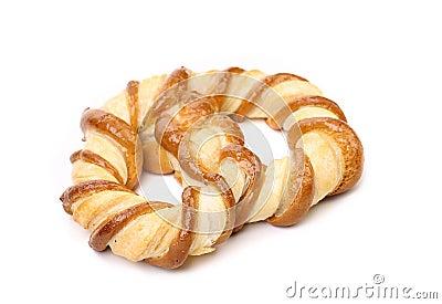 新近地被烘烤的花梢椒盐脆饼。