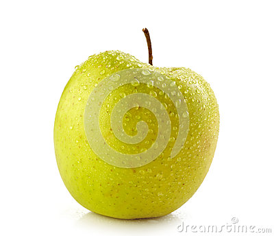 新鲜的湿苹果
