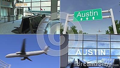 旅行向奥斯汀 飞机到达对美国概念性蒙太奇动画 股票视频