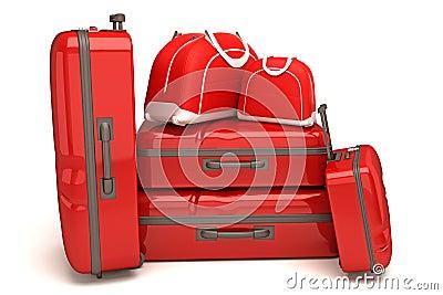 旅行袋子和皮箱