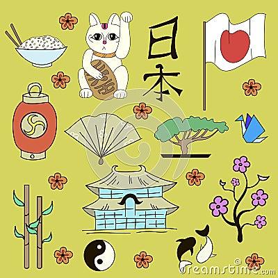 无缝的日本标志黄色背景乱画手拉的传染媒介例证.
