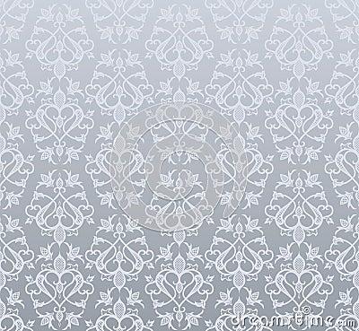 无缝的银色样式葡萄酒墙纸.