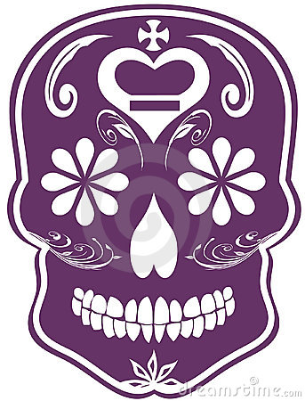 日停止的紫色头骨糖向量