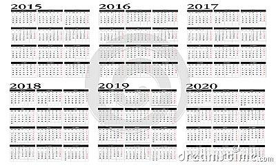 日历2015年到2020年图片