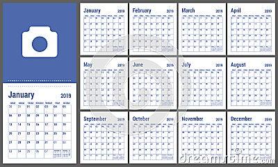 2019日历 英国日历 黄色颜色传染媒介模板 w. 蓝色, 收集.图片