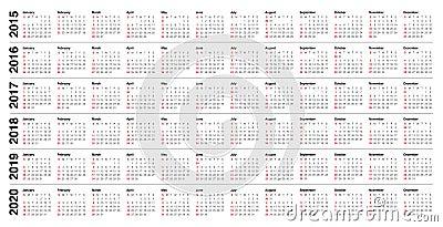 简单的日历2015 2016 2017 2018 2019 2020年.图片