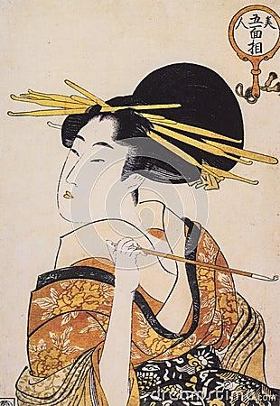 日本传统绘画_日本传统绘画形式浮游物世界凹道,描述古老传统日本人的礼服的美丽的