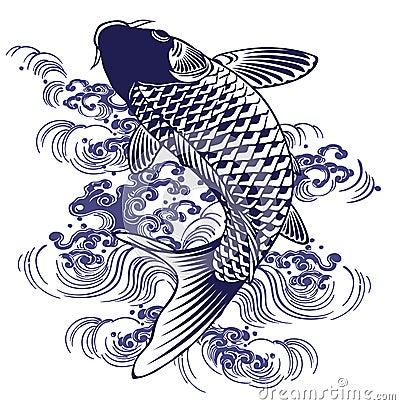日本传统绘画_我画了在日本传统绘画的技术的一个鲤鱼.