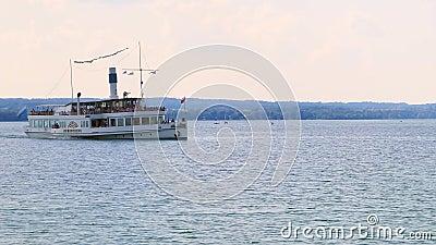 明轮船阿默湖畔黑尔兴,阿默湖,湖阿莫尔,巴伐利亚,德国 影视素材