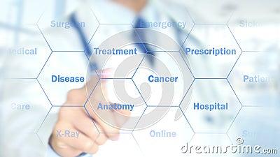是您感到不适,工作在全息照相的接口,行动图表的医生 向量例证