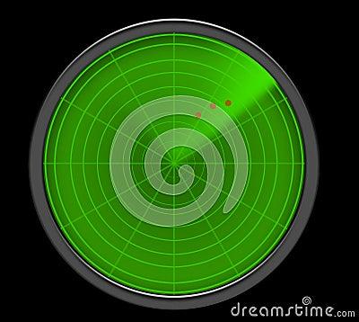 显示威胁的绿色雷达网