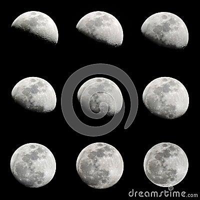 9月牙月亮剪影在黑背景隔绝的 库存照片 - 图片图片