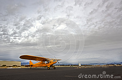 有严重的天空的黄色Cub飞机