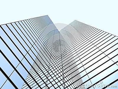 有云彩反射的摩天大楼