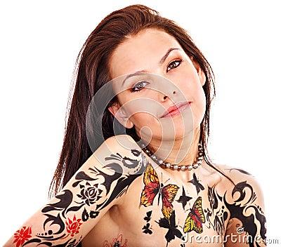 有人体艺术的女孩。