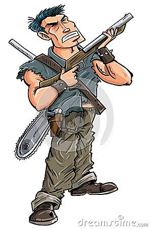 有准备好的猎枪的动画片英雄与蛇神战斗