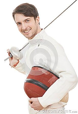有双刃剑箔的愉快的击剑者
