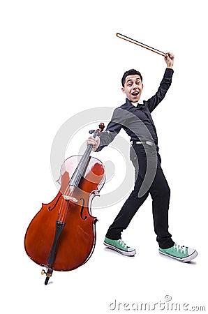 有小提琴的滑稽的人