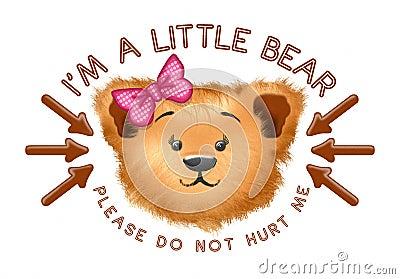 逗人喜爱的熊头箭头文本.图片