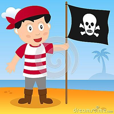 有旗子的海盗在海滩
