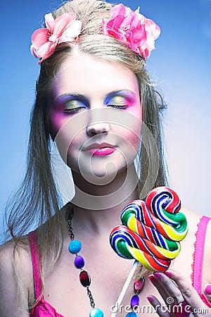 有棒棒糖的女孩