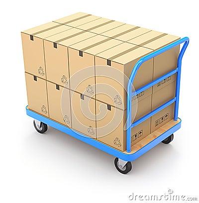 有箱子的台车