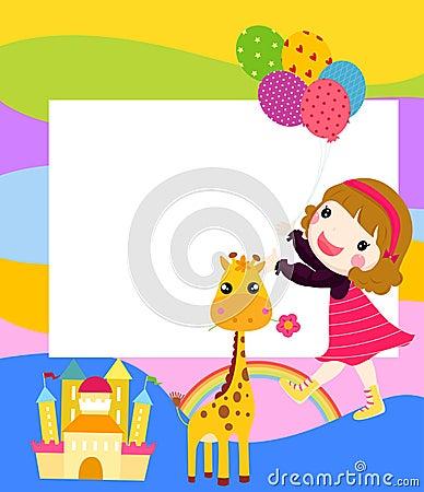 有气球和长颈鹿的小女孩