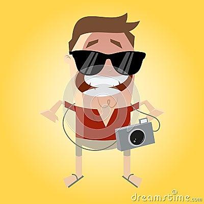 有照相机和太阳镜的滑稽的游人