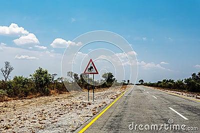 有横渡在纳米比亚,卡普里维运动场的蓝天和标志大象的不尽的路,有图片