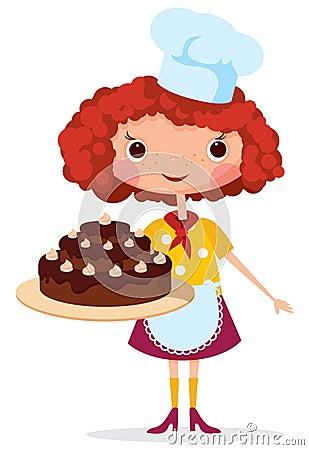 有蛋糕的女孩厨师 库存照片图片