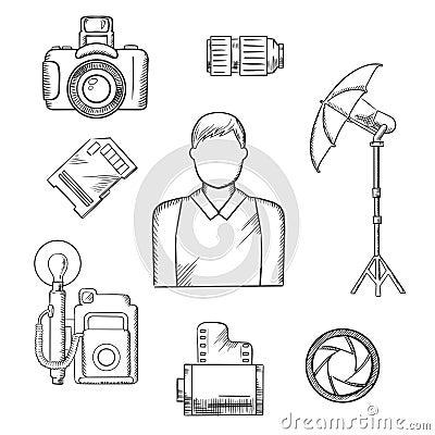 透镜,快门,数字式和减速火箭的照相机,点燃在三脚架的伞 传染媒介速写图片