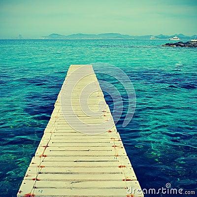 木板走道在Formentera,巴利阿里群岛