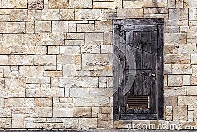 木砖门grunge老的墙壁.图片