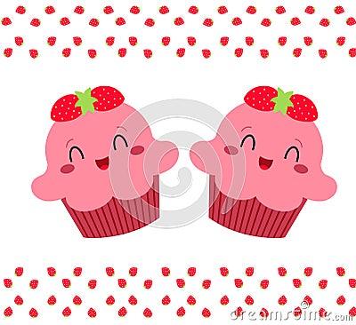 杯形蛋糕桃红色俏丽