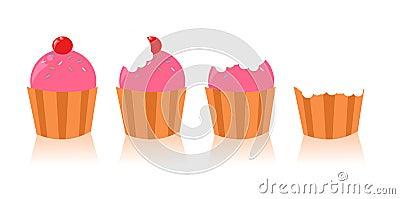 杯形蛋糕逗人喜爱的集