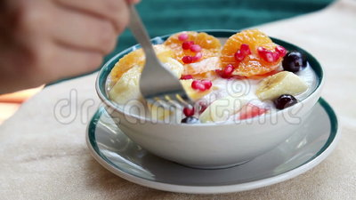 水果沙拉用凝乳 影视素材