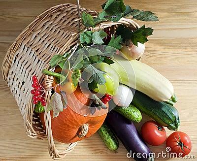 柳条篮子的蔬菜