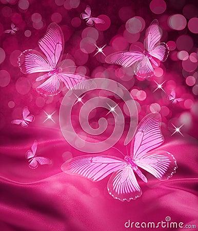 桃红色蝴蝶背景