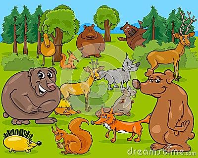森林场面的动画片例证与野生动物字符小组的.图片