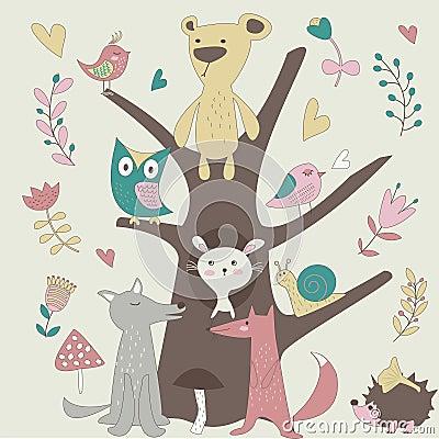 在喜爱森林传染的逗人集合的媒介蚊子熊,红包,狼,蜗牛,猬,兔狐狸和菜籽油能擦动物咬的宝宝么图片