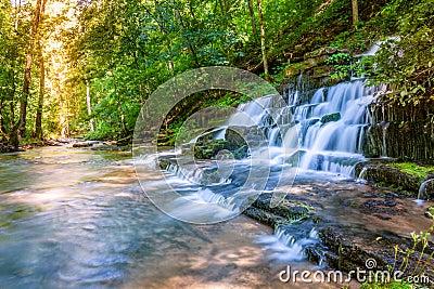 森林小河和瀑布