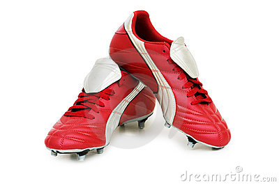 橄榄球查出的鞋子