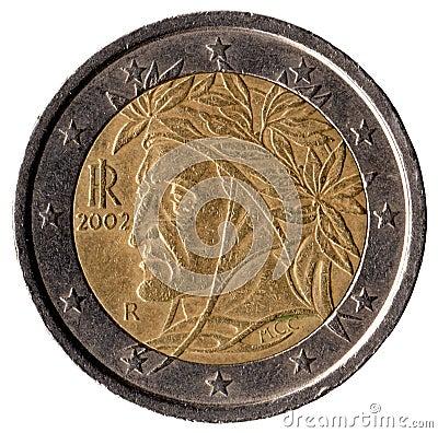 2欧元意大利硬币 图库摄影 - 图片: 34896592图片